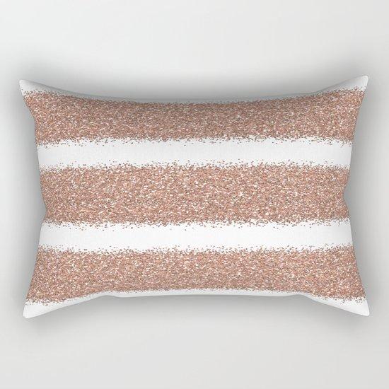 Rose gold glitter stripes Rectangular Pillow