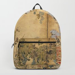 Japanese Edo Period Six-Panel Gold Leaf Screen - Spring and Autumn Flowers Backpack