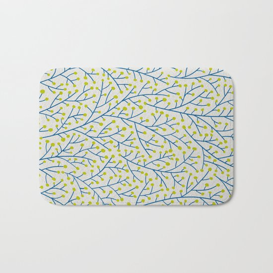 Berry Branches - Lime & Blue Bath Mat