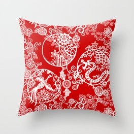 Pieces of China: Clusters (white on red) Throw Pillow