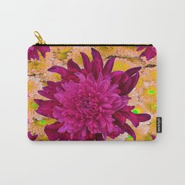 Stylized  Burgundy Purple & Yellow Chrysanthemums Floral Garden Carry-All Pouch