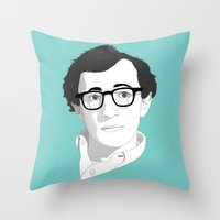 woody allen Throw Pillows featuring Woody Allen by Janko Illustration