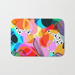 Bold multicolored digital abstract design Bath Mat