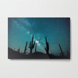 BLUE NIGHT SKY MILKY WAY AND DESERT CACTUS Metal Print