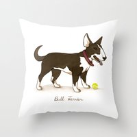 bull terrier Throw Pillows featuring Bull Terrier by Monica McClain