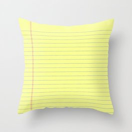 Yellow Legal Pad Throw Pillow