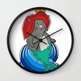 Princess Mermaid Cat Wall Clock