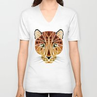 leopard V-neck T-shirts featuring leopard by Manoou