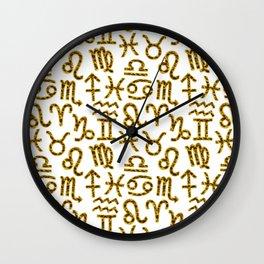 Zodiac signs background. Horoscope symbols. Astrology background Wall Clock