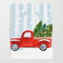 Christmas Red PickUp Truck on a Snowy Road Poster