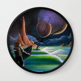 Cosmic Surf Scene Wall Clock