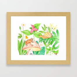 Frog meets Snail Framed Art Print