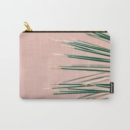 Green on Coral | Botanical modern photography print | Tropical vibe art Carry-All Pouch