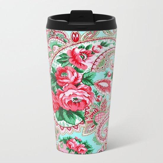 Floral Paisley Pattern 01 Metal Travel Mug