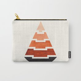 Burnt Sienna Watercolor Ombre Geometric Aztec Triangle Pyramid Pattern Minimalist Mid Century Design Carry-All Pouch