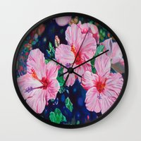hibiscus Wall Clocks featuring Hibiscus by Morgan Ralston