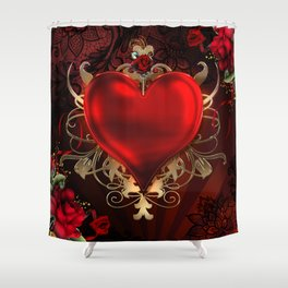 Gothic Red Rose Heart Shower Curtain