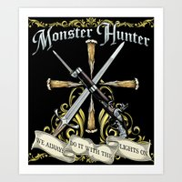 monster hunter Art Prints featuring Monster Hunter by Egregore Design