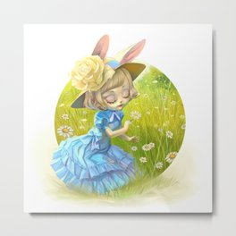 Susy in the daisies field Metal Print