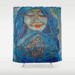 let go to find happiness Shower Curtain
