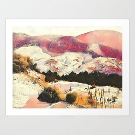 A Winter of Pink Gold Hills by CheyAnne Sexton Art Print