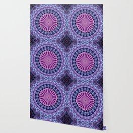 Pretty mandala in blue and violet tones Wallpaper