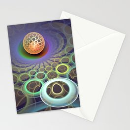 Phlat ball, fractal 3-D pattern abstract Stationery Cards