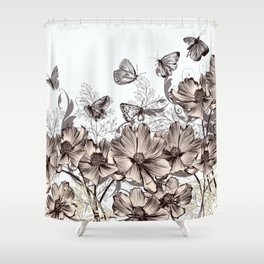 Background with flowers and butterflies Shower Curtain