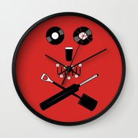 shaun of the dead Wall Clocks featuring Shaun of the Dead - Skull by Nick Kemp