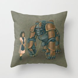 A Young Lady's Companion Automaton Throw Pillow