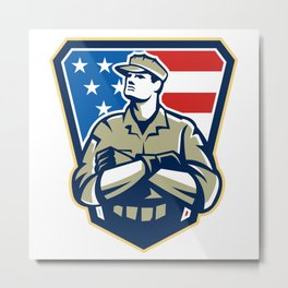 American Soldier Arms Folded Flag Retro Metal Print