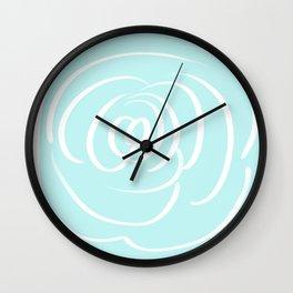 Fresh Aqua and White Rose Design Wall Clock