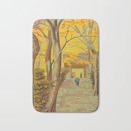 Asano Takeji Japanese Woodblock Print Vintage Mid Century Art Autumn Trees Shinto Shrine Bath Mat