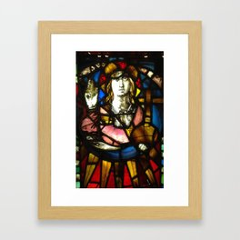 Saint George the Dragon Slayer in Stained Glass Framed Art Print