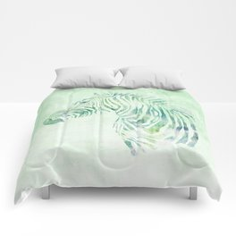 Zebra Watercolor Pale Green Comforters