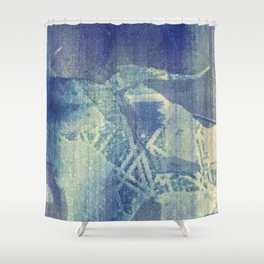 Abstraction in Blue Shower Curtain