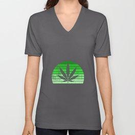 Retro Cannabis Leaf | Smoke Weed 420 Pot Gifts Unisex V-Neck