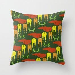 Green Moose Pattern Throw Pillow