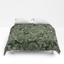 Hand painted gold forest green modern floral Comforters