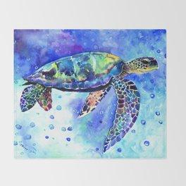 Sea Turtle, Underwater Scene Throw Blanket