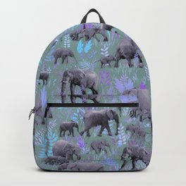 Sweet Elephants in Purple and Grey Backpack
