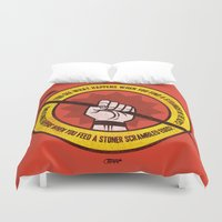 the big lebowski Duvet Covers featuring What happens... (Big Lebowski Censored) by Gimetzco's Damaged Goods