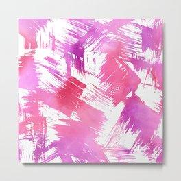Hand painted pink purple watercolor brushstrokes pattern Metal Print
