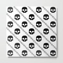 Skulls & Flowers - White V2 Metal Print