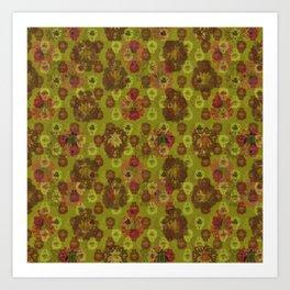 Lotus flower - curry green woodblock print style pattern Art Print