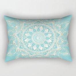 Elegant White Gold Mandala Sky Blue Design Rectangular Pillow
