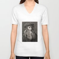 da vinci V-neck T-shirts featuring Leonardo da Vinci by Palazzo Art Gallery