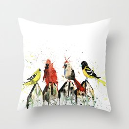 Birds on a Fence - Judgey Birds Throw Pillow