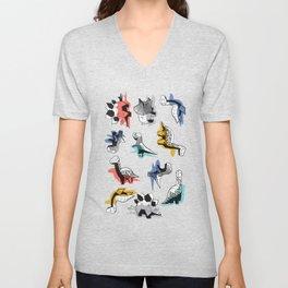 Geometric Dinos // non directional design black background multicoloured dinosaurs shadows Unisex V-Neck