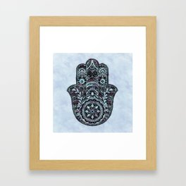Watercolor Blue Pink Hamsa Hand Framed Art Print